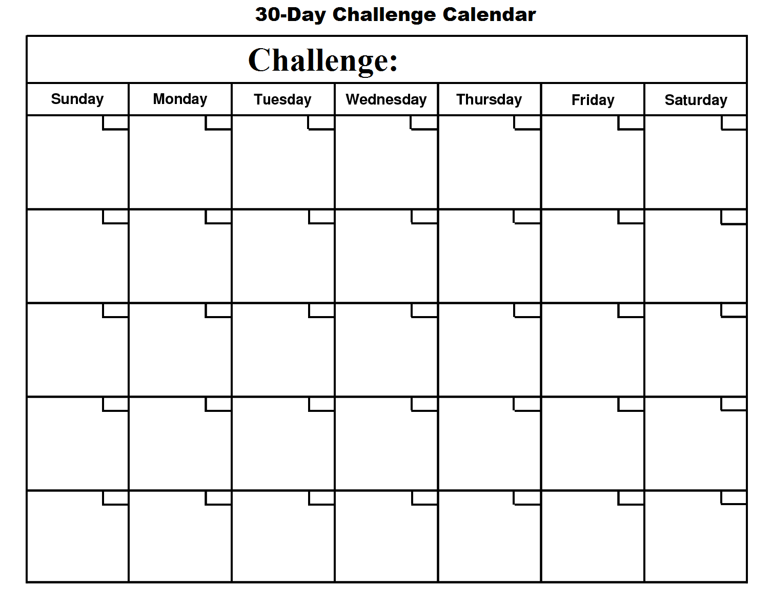 30 Day Challenge Calendar Basic Growth